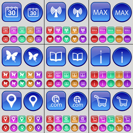 max: Calendar, Wi-Fi, Max, Butterfly, Book, Screwdriver, Checkpoint, Domain, Shopping cart. A large set of multi-colored buttons. Vector illustration Illustration