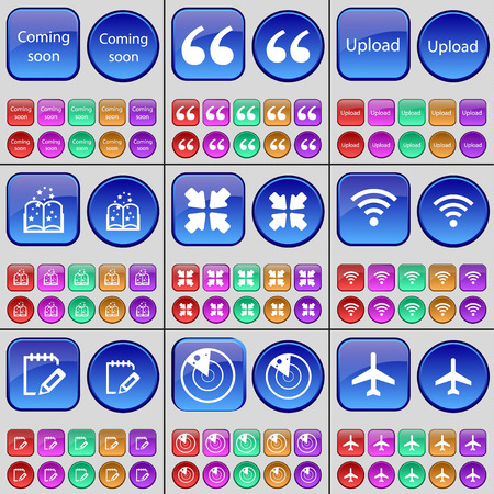 book mark: Coming soon, Quotation mark, Upload, Book, Deploying screen, Wi-Fi, Notebook, Radar, Airplane. A large set of multi-colored buttons. Vector illustration Illustration