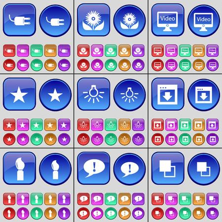 enchufe de luz: Socket, Flor, monitor, Estrella, Bombilla, Ventana, cepillo, Chat burbuja, Copiar. Un gran conjunto de botones multicolores. Ilustración vectorial