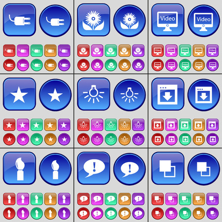chat window: Socket, Flower, Monitor, Star, Light bulb, Window, Brush, Chat bubble, Copy. A large set of multi-colored buttons. Vector illustration