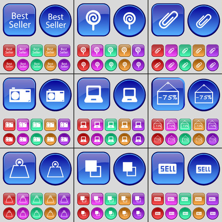 best seller: Best seller, Lollipop, Clip, Camera, Laptop, Discount, Weights, Copy, Sell. A large set of multi-colored buttons. Vector illustration