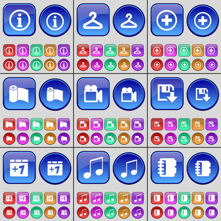 peper: Information, Hanger, Plus, Peper towel, Film camera, Floppy disk, Plus one, Note, Notebook. A large set of multi-colored buttons. Vector illustration Illustration