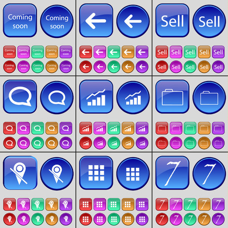 checkpoint: Coming soon, Arrow left, Sell, Chat bubble, Diagram, Folder, Checkpoint, Apps, Seven. A large set of multi-colored buttons. Vector illustration