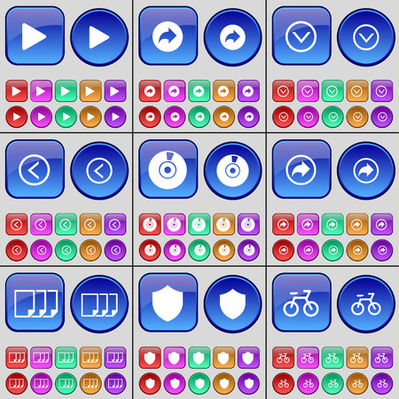 redo: Media play, Redo, Arrow down, Arrow left, Disk, File, Badge, Bicycle. A large set of multi-colored buttons. Vector illustration