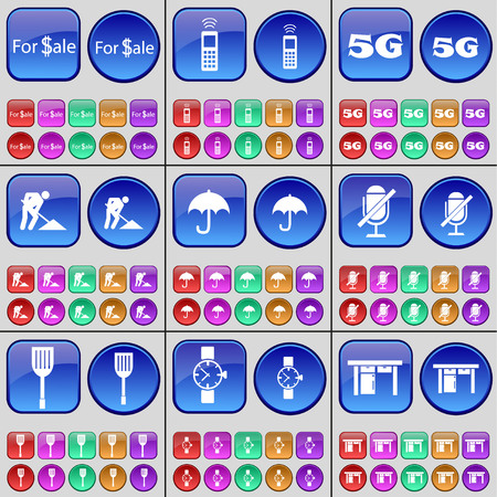 roadwork: For Sale, Mobile phone, 5G, Roadwork, Umbrella, Microphone, Spatula, Wrist watch, Table. A large set of multi-colored buttons. Vector illustration