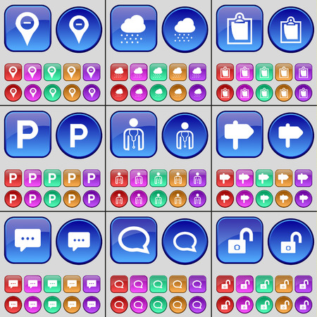 chat bubble: Checkpoint, Cloud, Survey, Parking, Avatar, Sing, Chat bubble, Lock. A large set of multi-colored buttons. Vector illustration