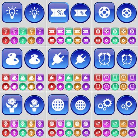 enchufe de luz: Luz, Venta de entradas, cintas de v�deo, de ocho, Toma, Despertador, Flor, Globe, Gear. Un gran conjunto de botones multicolores. Ilustraci�n vectorial
