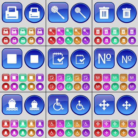 skimmer: Printer, Skimmer, Trash can, Media stop, Survey, Number, Ship, Disabled person, Moving. A large set of multi-colored buttons. Vector illustration