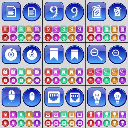 enchufe de luz: Archivo de texto, Nueve, carpetas, discos, Marker, Lupa, toma Ratón, LAN, Bombilla. Un gran conjunto de botones multicolores. Ilustración vectorial