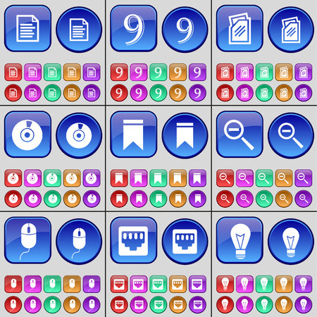 lan: Text file, Nine, Folder, Disk, Marker, Magnifying glass, Mouse, LAN socket, Light bulb. A large set of multi-colored buttons. Vector illustration Illustration