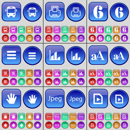 jpeg: Bus, Printer, Six, List, Diagram, Font, Hand, Jpeg, Media file. A large set of multi-colored buttons. Vector illustration