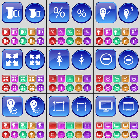 checkpoint: Negative films, Percent, Checkpoint, Full screen, Silhouette, Minus, Frame, Monitor. A large set of multi-colored buttons. Vector illustration Illustration