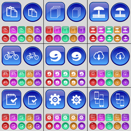 on cloud nine: Survey, Files, Umbrella, Bicycle, Nine, Cloud, Survey, Gear, Smartphone. A large set of multi-colored buttons. Vector illustration