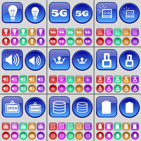 crown of light: Light bulb, 5G, Alarm clock, Sound, Crown, Eight, Open, Database, Battery. A large set of multi-colored buttons. Vector illustration