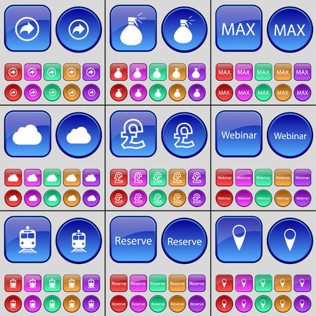 max: Back, Sprayer, Max, Cloud, Pound, Webinar, Train, Reserve, Checkpoint. A large set of multi-colored buttons. Vector illustration Illustration