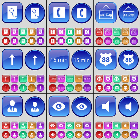 arrow up: Search, Receiver, 31 Day, Arrow up, 15 minutes, Badge, Avatar, Vision, Sound. A large set of multi-colored buttons. Vector illustration Illustration