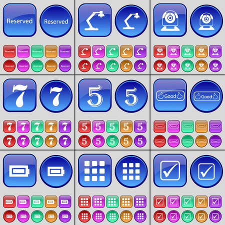 web camera: Reserved, Lamp, Web camera, Seven, Five, Like, Battery, Apps, Tick. A large set of multi-colored buttons. Vector illustration