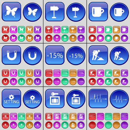 works: Butterfly, Signpost, Cup, Magnet, Discount, Road works, Setting, Vault, Pulse. A large set of multi-colored buttons. Vector illustration