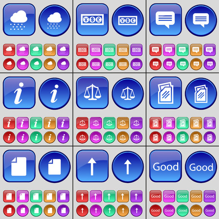 arrow up: Cloud, Currency, Chat bubble, Information, Scales, Folder, File, Arrow up, Good. A large set of multi-colored buttons. Vector illustration
