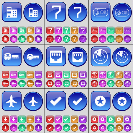 lan: Building, Seven, Approval, Roulette, LAN socket, Radar, Airplane, Tick, Star. A large set of multi-colored buttons. Vector illustration