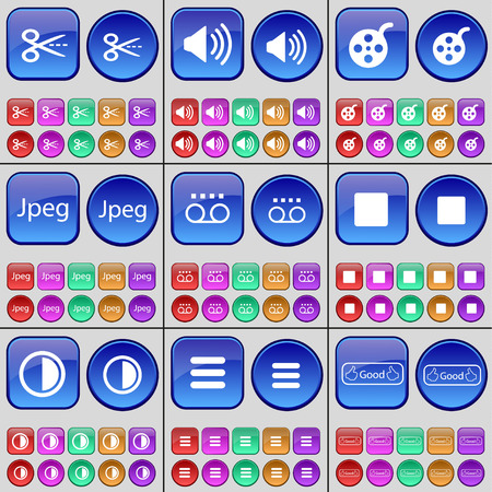 brightness: Scooter, Sound, Videotape, Jpeg, Cassette, Media stop, Brightness, Apps, Like. A large set of multi-colored buttons. Vector illustration