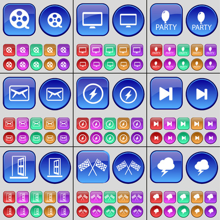 skip: Videotape, Monitor, Party, Message, Flash, Media skip, Door, Colours, Lightning. A large set of multi-colored buttons. Vector illustration Illustration