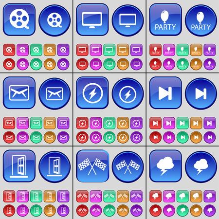 videotape: Videotape, Monitor, Party, Message, Flash, Media skip, Door, Colours, Lightning. A large set of multi-colored buttons. Vector illustration Illustration