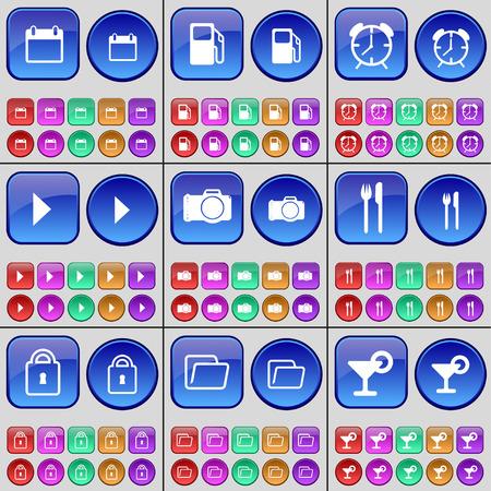 folder lock: Calendar, Gas station, Alarm clock, Media play, Camera, Cutlery, Lock, Folder, Cocktail. A large set of multi-colored buttons. Vector illustration