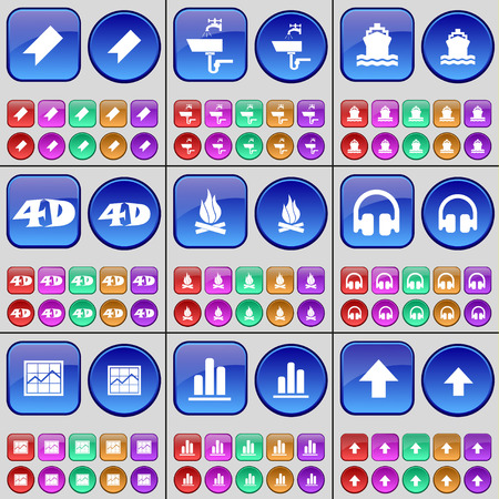 up marker: Marker, Tap, Ship, 4D, Fire, Headphones, Graph, Diagram, Arrow up. A large set of multi-colored buttons. Vector illustration