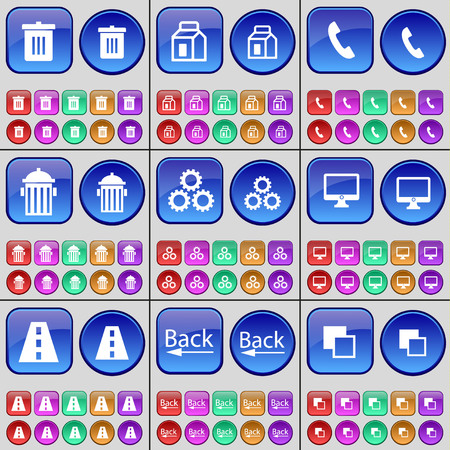 trash can: Trash can, Package, Receiver, Trash can, Gear, Monitor, Road, Back, Copy. A large set of multi-colored buttons. Vector illustration