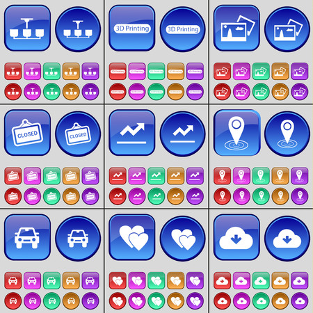 checkpoint: Chandelier, 3D Printing, Picture, Closed, Graph, Checkpoint, Car, Heart, Cloud. A large set of multi-colored buttons. Vector illustration