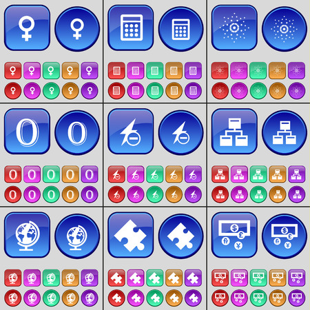 venus: Venus symbol, Calculator, Star, Zero, Flash, Network, Earth, Puzzle, Currency. A large set of multi-colored buttons. Vector illustration Illustration