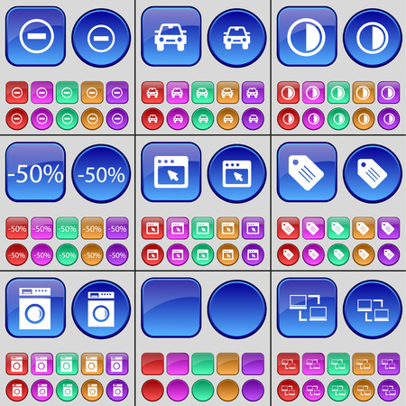 Minus, Car, Brightness, Discount, Window, Tag, Washing machine, Connection. A large set of multi-colored buttons. Vector illustration Vetores