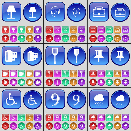 on cloud nine: Lamp, Headphones, Suitcase, Negative films, Padle, Pin, Disabled person, Nine, Cloud. A large set of multi-colored buttons. Vector illustration