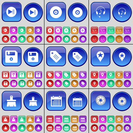 lens brush: Media play, Disk, Headphones, Floppy disk, Tag, Checkpoint, Brush, Calendar, Lens. A large set of multi-colored buttons. Vector illustration Illustration