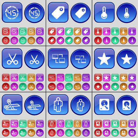 countdown: Countdown, Tag, Thermometer, Scissors, Silhouette, Hard drive. A large set of multi-colored buttons. Vector illustration