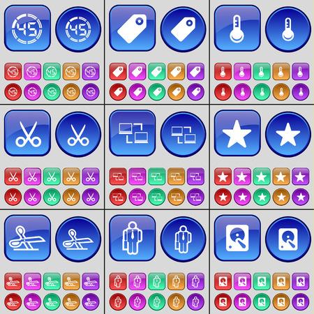 disco duro: Cuenta atr�s, Tag, term�metro, tijeras, Silueta, unidad de disco duro. Un gran conjunto de botones multicolores. ilustraci�n vectorial Vectores