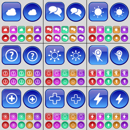 checkpoint: Cloud, Chat, Light, Question mark, Light, Checkpoint, Plus, Flash. A large set of multi-colored buttons. Vector illustration