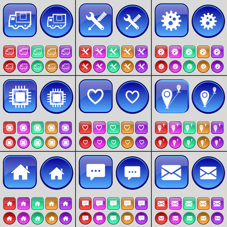 heart gear: Truck, Wrench, Gear, Processor, Heart, Route, House, Chat bubble, Message. A large set of multi-colored buttons. Vector illustration Illustration