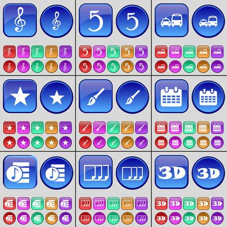 playlist: Clef, Five, Transport, Star, Brush, Calendar, Playlist, Files, 3D. A large set of multi-colored buttons. Vector illustration Illustration