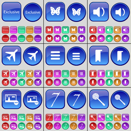skimmer: Exclusive, Butterfly, Sound, Airplane, Apps, Marker, Picture, Seven, Skimmer. A large set of multi-colored buttons. Vector illustration Illustration