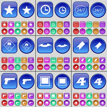 slope: Star, Clock, 247, Slippery slope, Bat, Marker, Gun, Window, Four. A large set of multi-colored buttons. Vector illustration