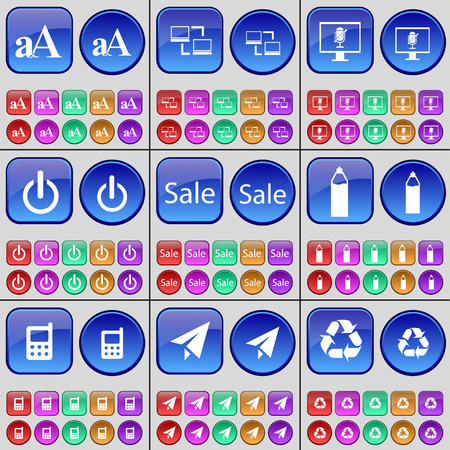 paper plane: Font, Connection, Monitor, Power, Sale, Pencil, Mobile phone, Paper plane, Recycling. A large set of multi-colored buttons. Vector illustration