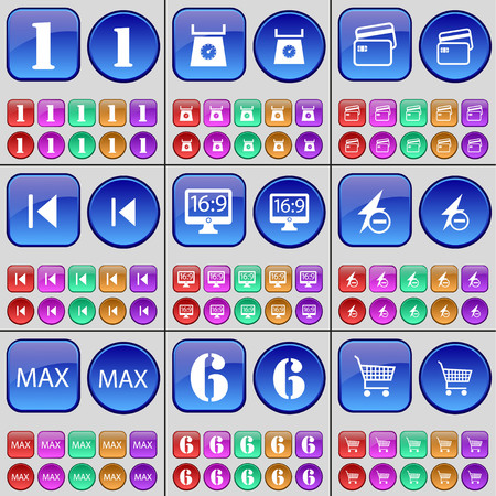 max: One, Scales, Credit card, Media skip, Monitor, Flash, Max, Six, Shopping cart. A large set of multi-colored buttons. Vector illustration Illustration