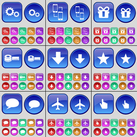 arrow down: Gear, Connection, Gift, Tape measure, Arrow down, Star, Chat bubble, Airplane, Hand. A large set of multi-colored buttons. Vector illustration Illustration