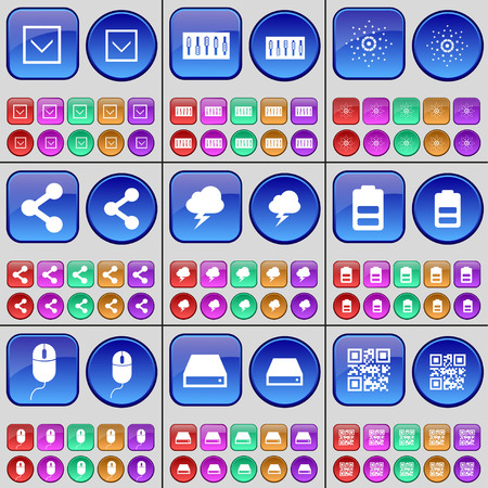 qrcode: Arrow down, Equalizer, Star, Share, Cloud, Battery, Mouse, Hard drive, QR-code. A large set of multi-colored buttons. Vector illustration