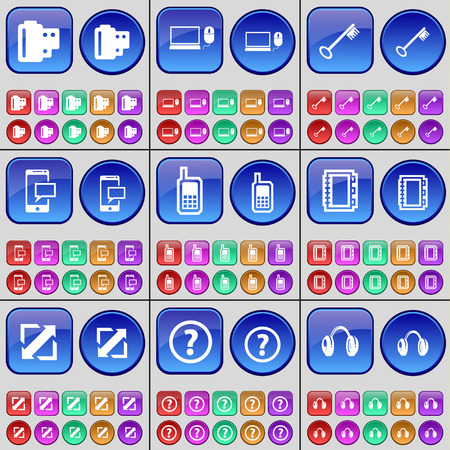 laptop screen: Negative films, Laptop, Key, SMS, Mobile phone, Notebook, Deploying screen, Question mark, Headphones. A large set of multi-colored buttons. Vector illustration