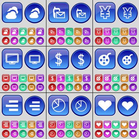 videotape: Cloud, SMS, Yen, Monitor, Dollar, Videotape, List, Diagram, Heart. A large set of multi-colored buttons. Vector illustration