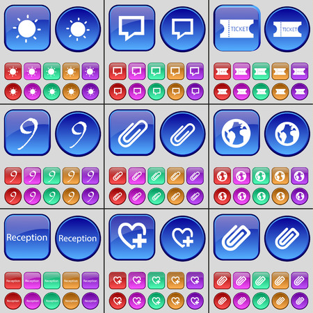 chat bubble: Light, Chat bubble, Ticket, Nine, Clip, Earth, Reception, Heart, Clip. A large set of multi-colored buttons. Vector illustration