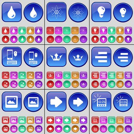 crown of light: Drop, Star, Light bulb, Smartphone, Crown, List, Window, Arrow right, Alarm clock. A large set of multi-colored buttons. Vector illustration Illustration